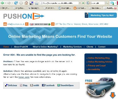 PushON Online Marketing error page
