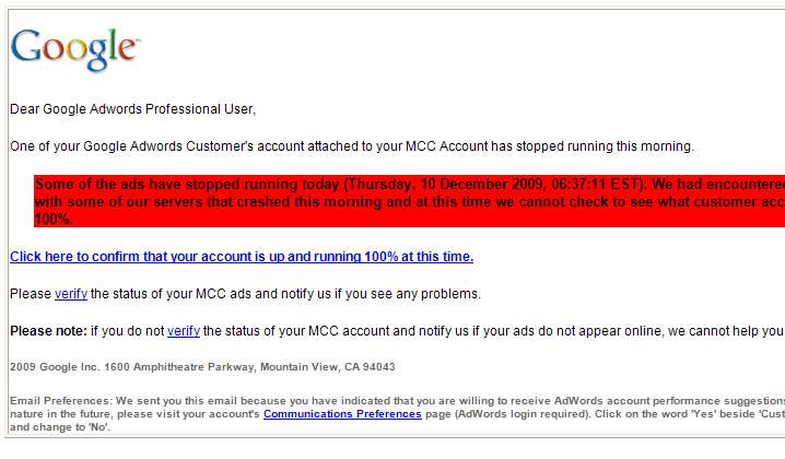 Google AdWords MMC Scam