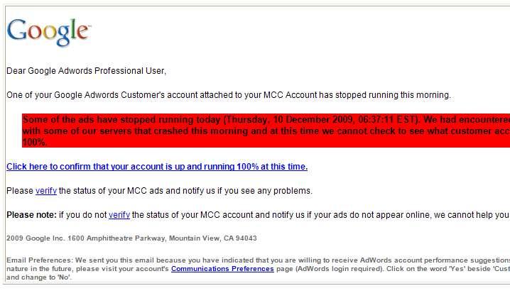 Google AdWords MMC Scam
