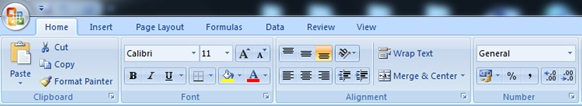 Microsoft's Fluent User Interface in the Office 2007, as it appear in Excel