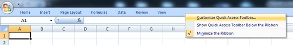 By selecting this function you can start to customise our Quick Access Toolbar and optimise your Excel