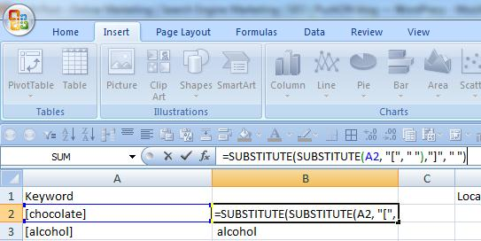 An =Substitute formula in Excel makes cleaning up keyword results a simple job