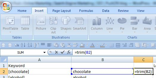 An =Trim formula in Excel makes cleaning up keyword results a simple job