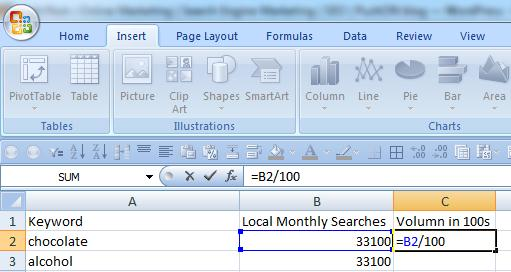 By dividing the Local Mongthly Searches by 100, the keyword terms will be smaller but still in proportion