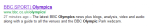 BBC Sport Olympics in Google SERPs
