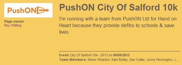 PushON team need your support for the Salford 10k!