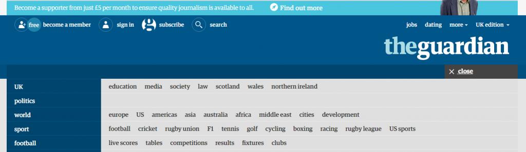Guardian expanded menu