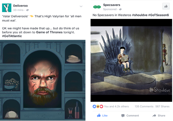 Facebook Game of Thrones Adverts