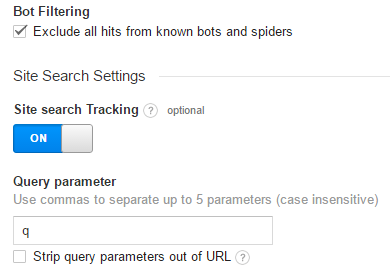 Google Analytics internal search