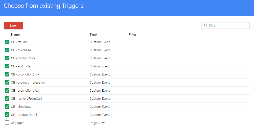selecting triggers