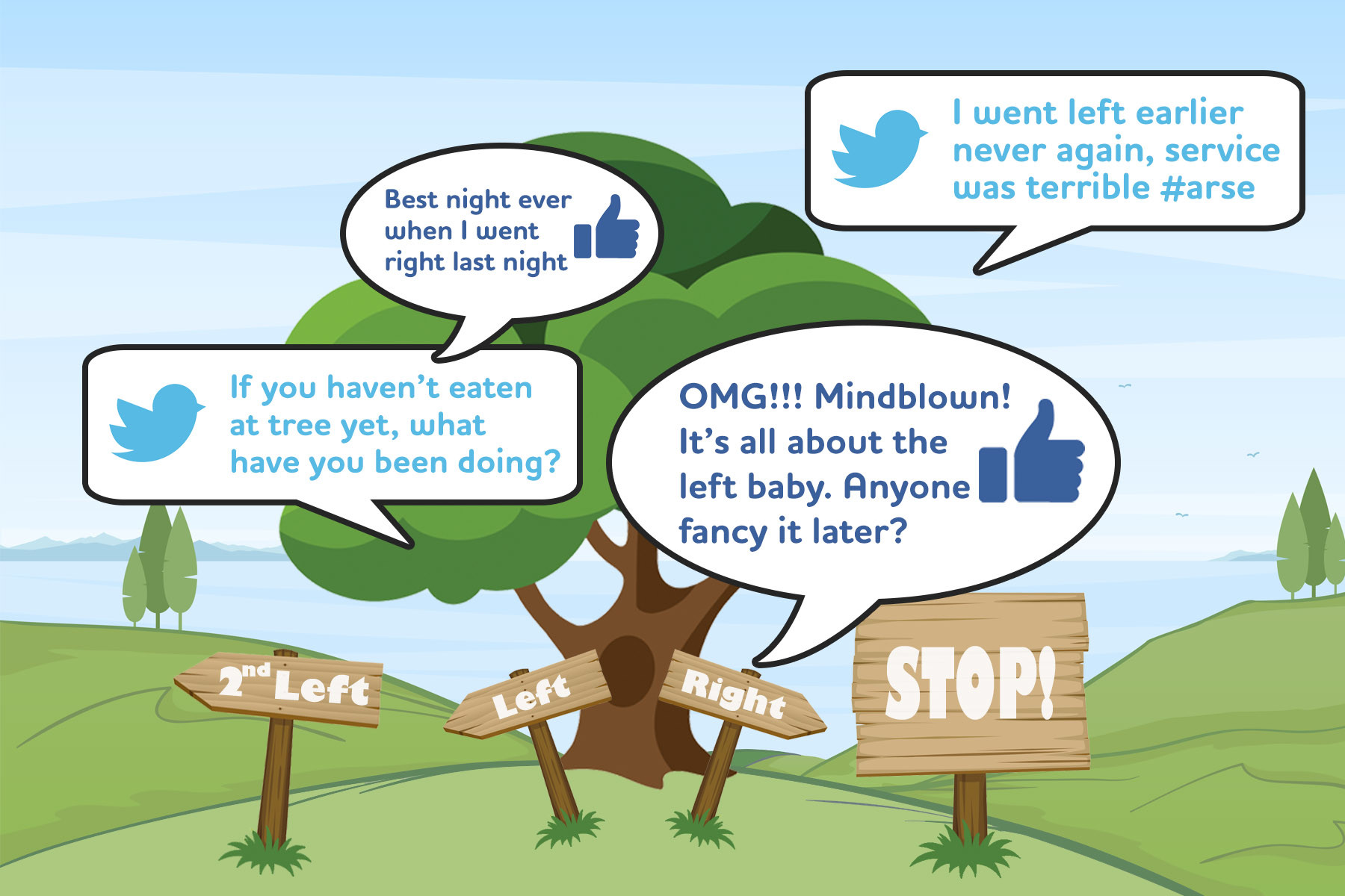 A tree with multiple sign posts and social media captions offering advice and opinions