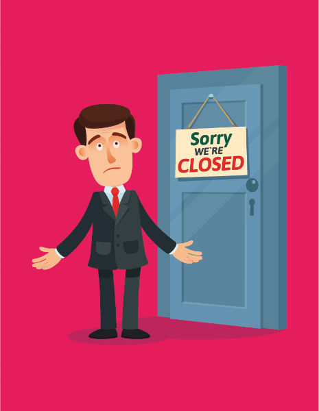 """Illustration of a man stuck outside of a door with a """"Sorry, we're closed"""" sign."""