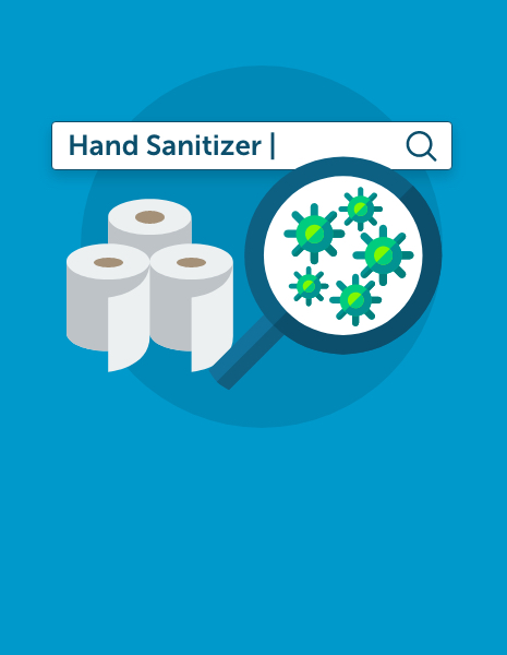 Illustration showing how coronavirus drove searches for hand sanitiser and toilet paper.