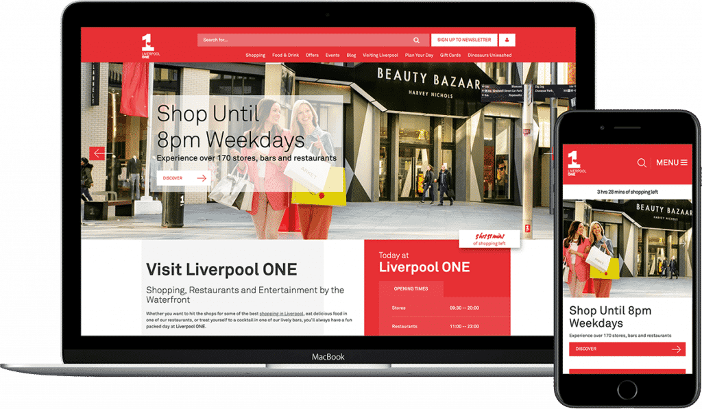 Liverpool ONE website shown on laptop and mobile