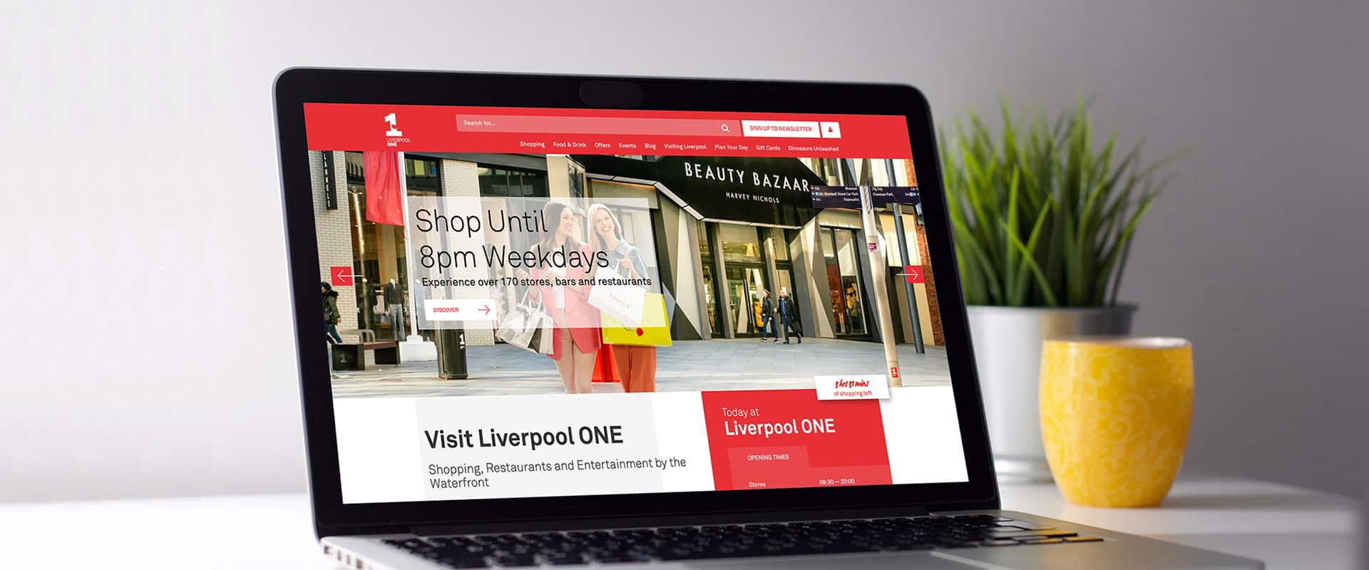 Liverpool ONE website on laptop