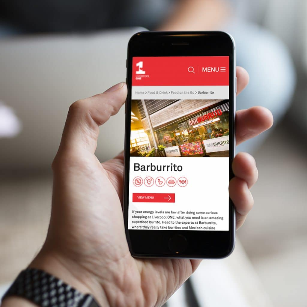 Liverpool One website shown on mobile