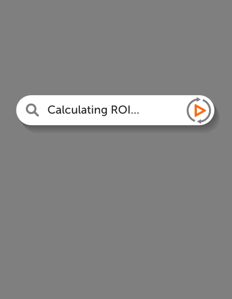 """Illustrated search bar reading """"Calculating ROI"""" with PushON."""