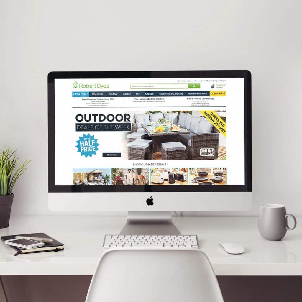 Robert Dyas website shown on desktop