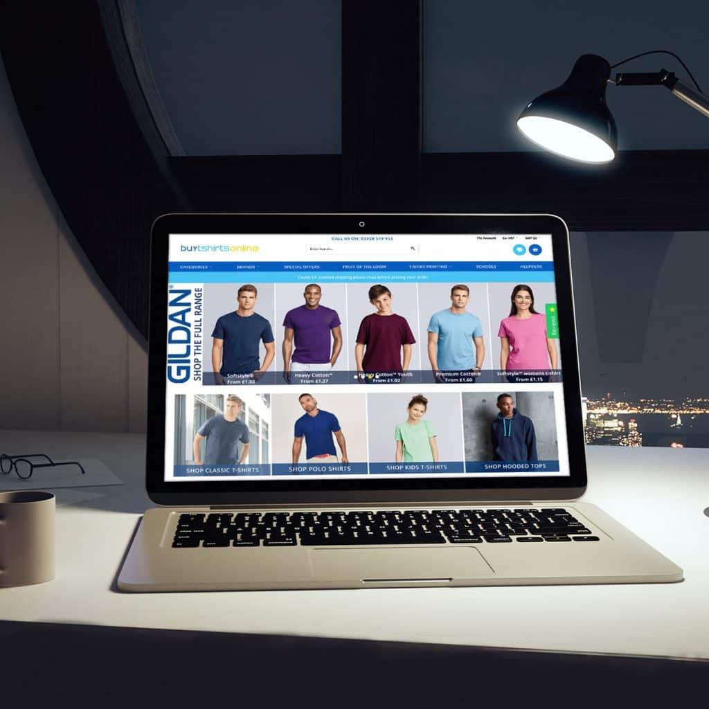Buytshirtsonline website demonstrated on laptop