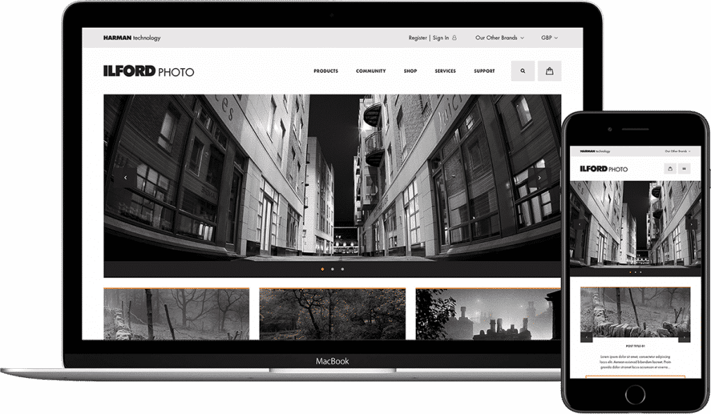 Ilford Photo website demonstrated on laptop and mobile