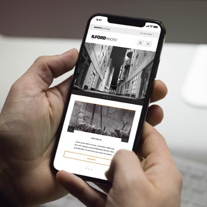 Ilford Photo website demonstrated on mobile