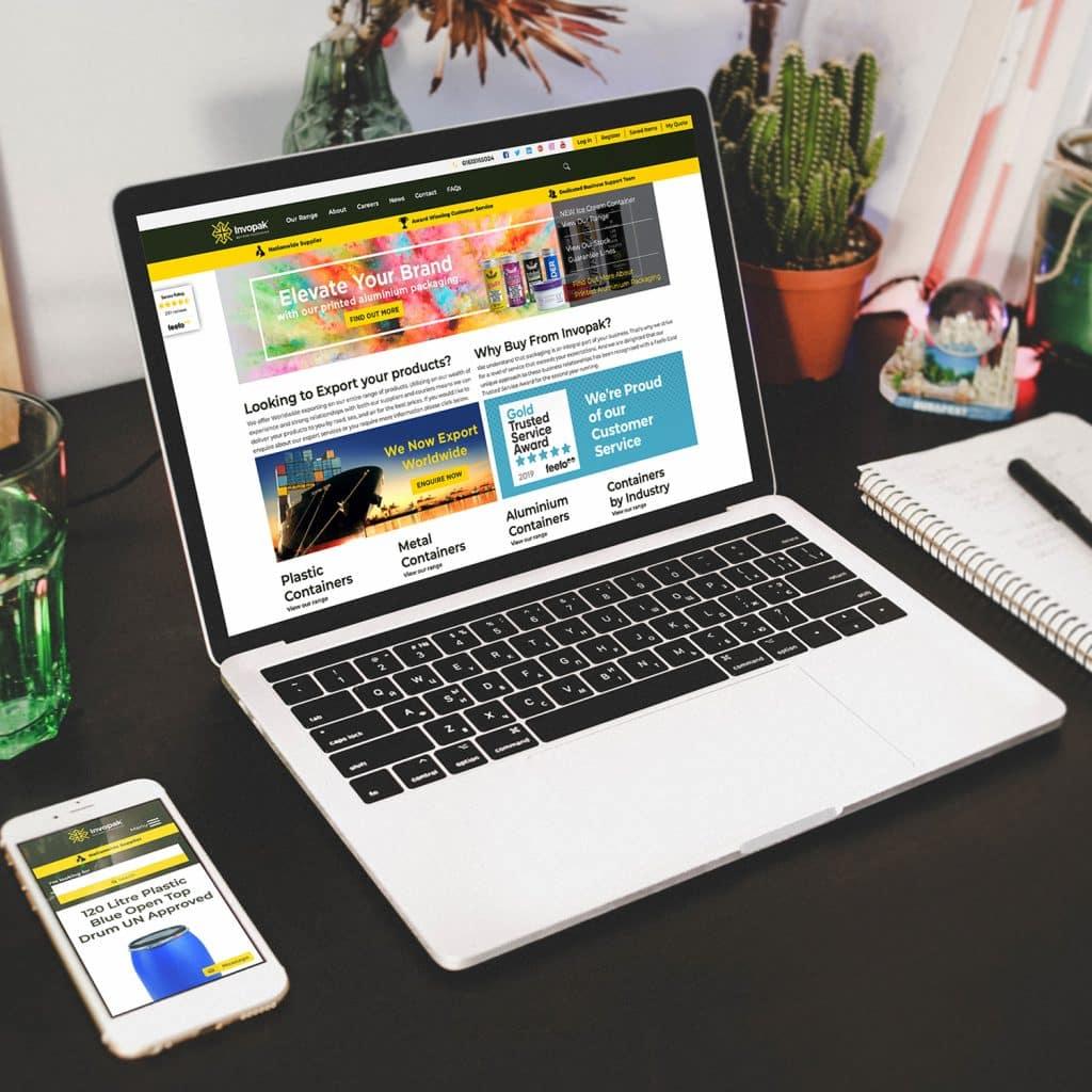 Invopak website demonstrated on laptop
