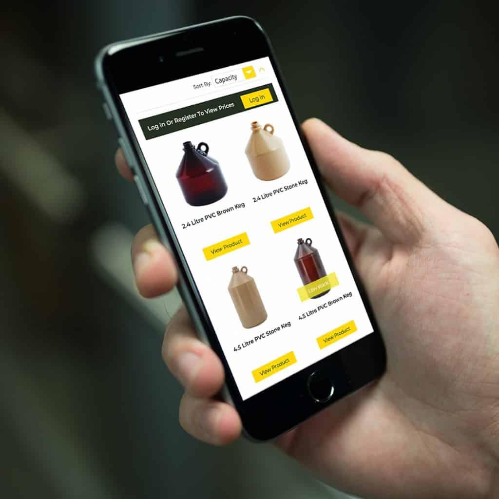 Invopak website demonstrated on mobile