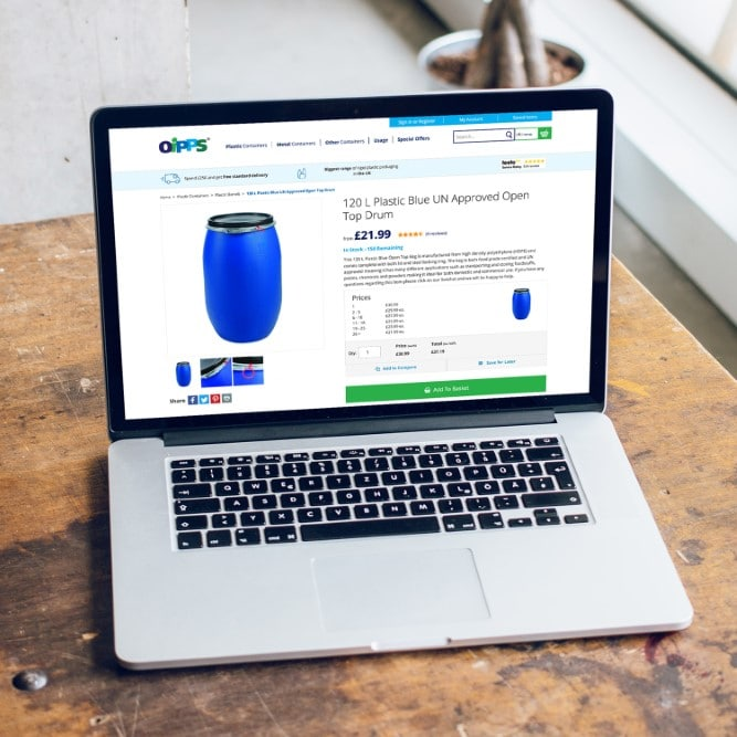 Oipps product page shown on laptop