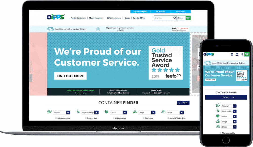 Oipps website shown on laptop and mobile.