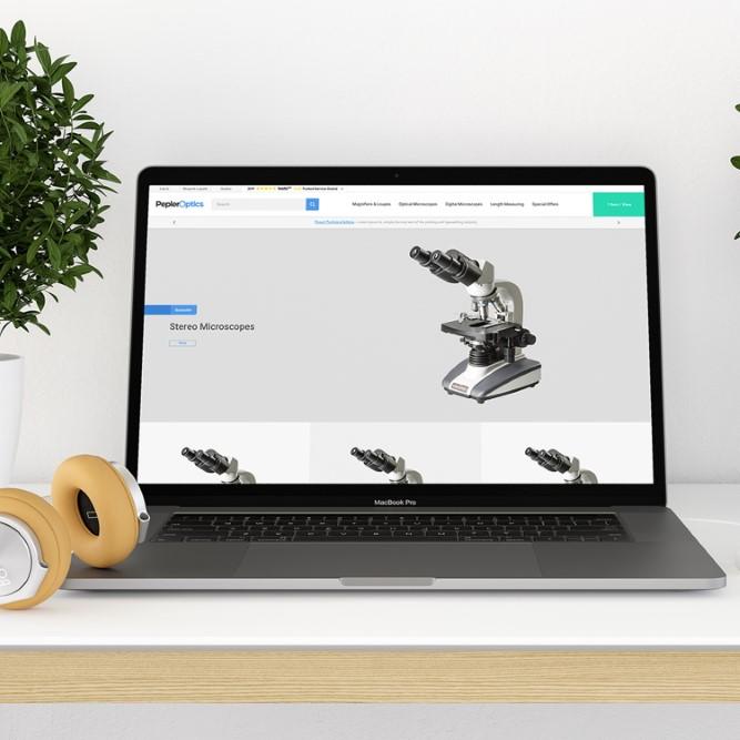 Pepler Optics website demonstrated on laptop