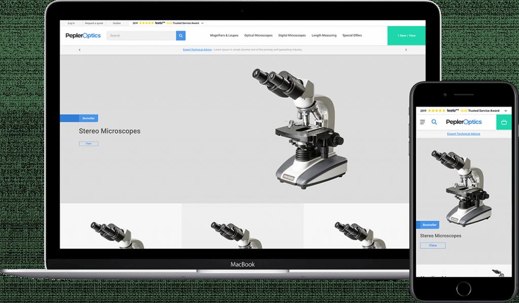 Pepler Optics website demonstrated on laptop and mobile