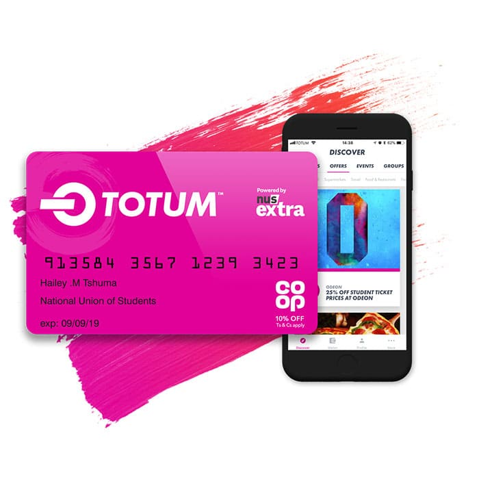 Totum card and website demonstrated on mobile