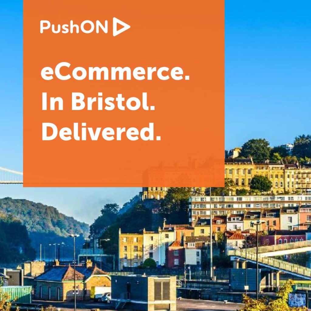 """Image of Bristol with text reading """"Ecommerce. In Bristol. Delivered"""""""