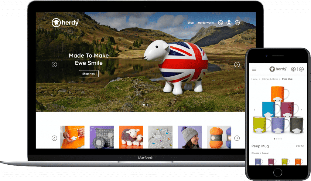 Herdy website demonstrated on a laptop and mobile
