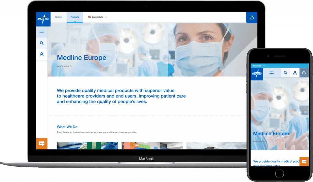 Medline website shown on website and mobile.