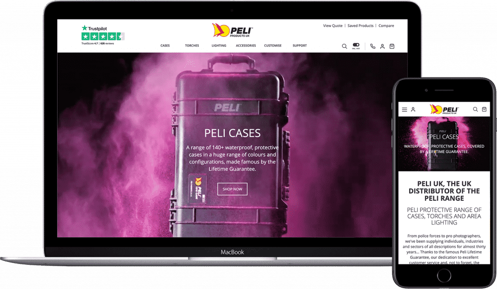 Peli Products website demonstrated on laptop and mobile