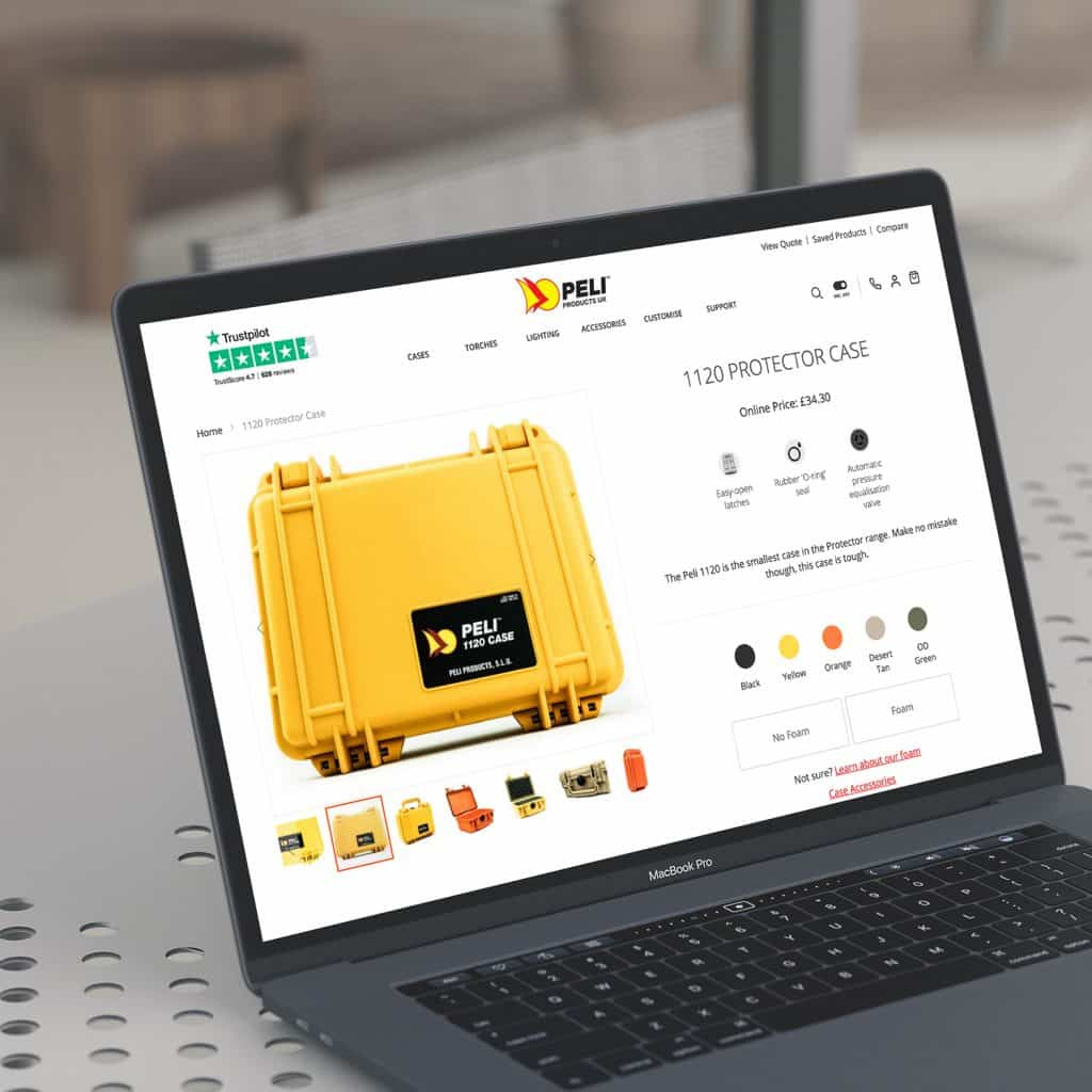 Peli Products website demonstrated on laptop