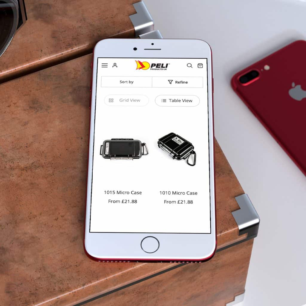 Peli Products website demonstrated on mobile
