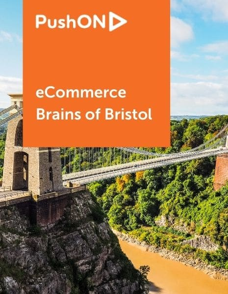 """Image of bristol with text """"Ecommerce: Brains of Bristol"""""""