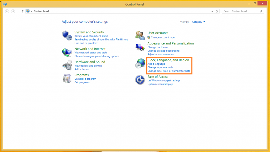 Windows 8.1 Control Panel