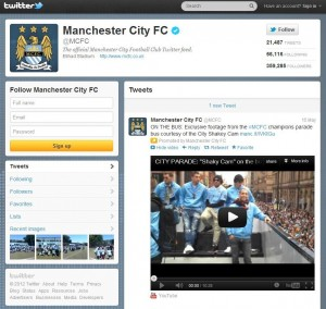 Manchester City's @mcfc Twitter account