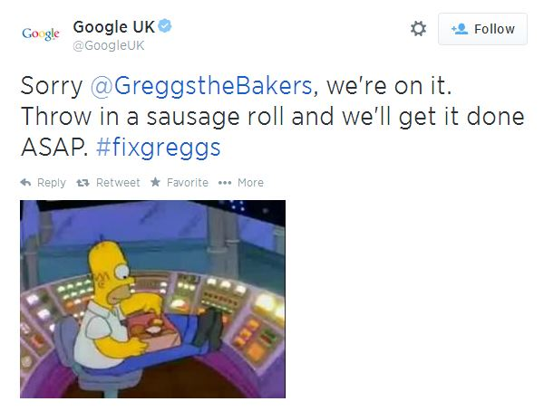 Greggs Google Reply
